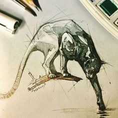 Great freehand draw by psdelux #freehand #sketch #drawing #painting #animal #Fox #animalart.