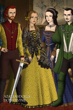 Four Hogwarts Founders ~ by NobodysSavior ~ created using the Tudors doll maker | DollDivine.com