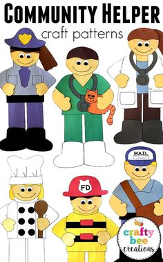 This is my best selling community helper set that includes 10 different community helper patterns.  Once assembled each sits at approx. 2 feet tall but can be made smaller by xeroxing at 50%. These will be a hit for any community helper unit!