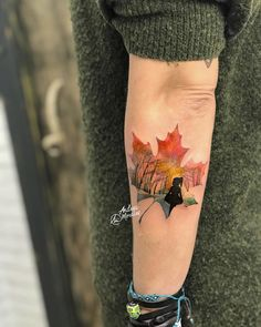 Maple Leaf tattoo by Andrea Morales
