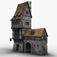 fantasy old blacksmith house, a 3D model but stunning none the less.