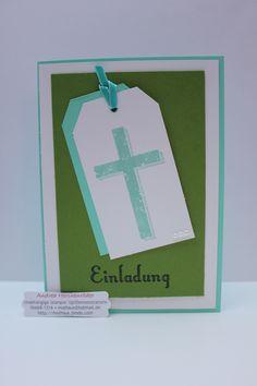 Stampin´Up!, Kreatives Muthaus, Einladung zur Konfirmation in Jade und Apfelgrün, mit gesegnetem eckigem Anhänger Mehr unter: muthaus.jimdo.com