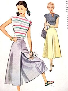 FAB Culotte Skirt Pattern McCALL 7198 Lovely Divided Skirt Waist 28 Vintage Sewing Pattern UNCUT-Authentic vintage sewing patterns: This is a fabulous original dress making pattern, not a copy. Because the sewing patterns are vintage and pre ow Vintage Skirt, Vintage Dresses, Vintage Outfits, Mode Vintage, Vintage Dior, Vintage Sewing Patterns, Clothing Patterns, 1940s Fashion, Vintage Fashion