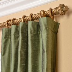 Signature Green Textured Silk 96-inch Curtain Panel | Overstock.com