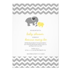 Yellow Elephant Baby Shower Invitation