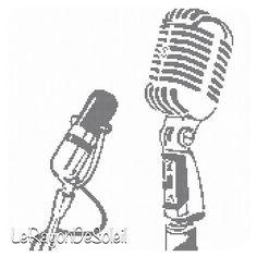 Cross stitch pattern vintage radio microphone on Etsy, 3,00 €