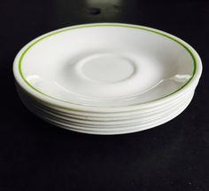 Set of 7 Corelle Saucers with Lime Green Stripe on Band - Matches Strawberry Sunday, Wildflower, Meadow, Honeydew, Sunshine Patterns by TimelessSeconds on Etsy