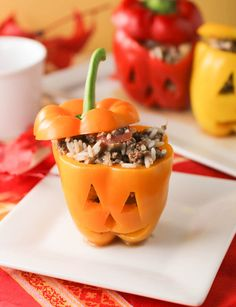 Halloween Stuffed Peppers. Family fun recipe to start the season with something to smile about.