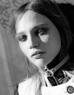 Sasha Pivovarova wears High necklines and loose-fitting trousers and skirts Pose on Intermission Magazine fall winter 2015 Photoshoot
