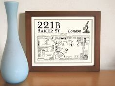 Sherlock Holmes Detective Art Print Bar Art 221B Baker Street Geekery London England Elementary Pub Decor by DexMex on Etsy https://www.etsy.com/listing/176490973/sherlock-holmes-detective-art-print-bar