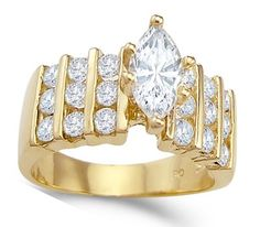 Marquise Engagement Ring 14k Yellow Gold
