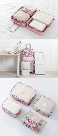 6Pcs Waterproof Travel Storage Bags Clothe Luggage Organizer Trip Journey Storage Container