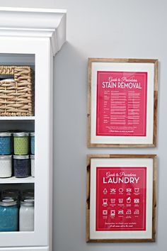I really like these laundry signs for the utility room. Fun but still practical.