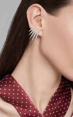 Single Electric Ear Wire with Full Diamonds - Azlee Resort 2016 - Preorder now on Moda Operandi