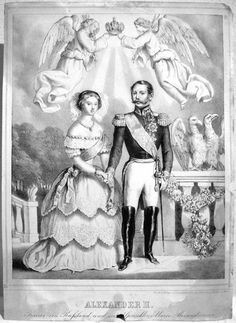 1841 or after Alexander II and Maria Alexandrovna, by Carl Lanzedelly APFxDru 12Jan09 detint