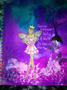 Mixed media art journal page copic markers, spray ink, Julie nutting doll stamp by mzqtz Tanya S
