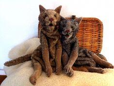Katzengeschwister (Klappmaulpuppen aus Mohair)  http://www.barleben-handspielpuppen.de/barleben