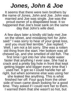 Jones, John & Joe - Funny Story !!!