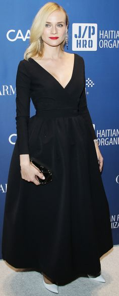 Diane Kruger looking gorgeous in a black Preen ballgown