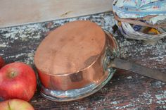 Copper Pot Pan Hammered Hand Forged Antique  French Primitive Rivetted Wrought Iron Handle with Hook on End , I Ship Internationally