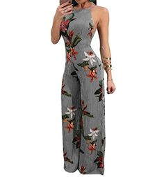 57b9b28cdda4 New 2018 Summer Floral Print Chiffon Rompers Jumpsuits Women s Sexy Lace-up  Backless Wide Leg Pants Loose Playsuit Overalls