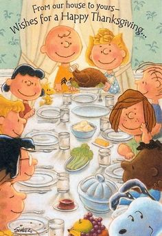 Happy Thanksgiving from Charlie Brown, Snoopy, and friends.