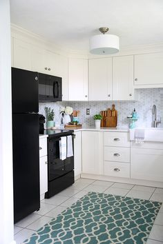 Beautiful White Ikea Sektion Grimslov Kitchen With Aqua And Green Accents A Gorgeous Marble Hexagon