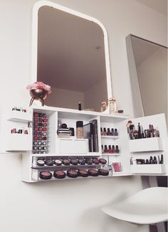 Etsy vanity organization, wall mounted makeup vanity, makeup storage on wal Wall Mounted Makeup Organizer, Vanity Organization, Storage Organizers, Wooden Organizer, Wall Mounted Vanity, Organization Ideas, Storage Ideas, My New Room, My Room