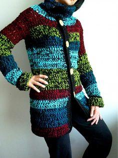 Crochét long sweater. love the different color combinations. Unique!