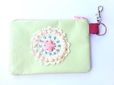 Pretty pearl pastel leather coin purse by thehouseofarax on Etsy