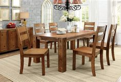 Furniture Of America Frontier 7 Pcs Dining Table & Chairs Set CM3603T