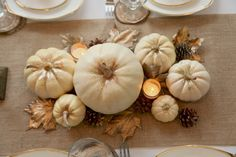 Beautiful neutrals Thanksgiving Table