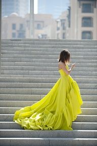 Yellow Gown.  Tommy Ton and Miroslava Duma for Symphony, The Dubai Mall.