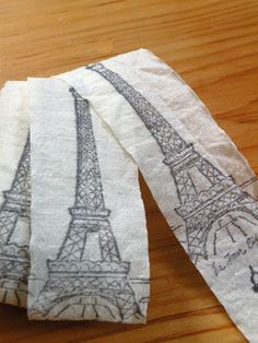 Eiffel Tower Cotton Blended Crinkle Ribbon  Five by aunaturelle, $7.00