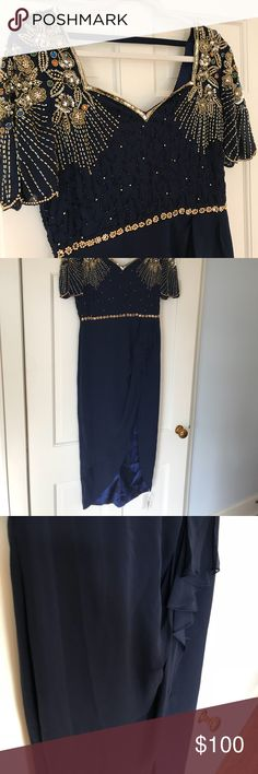 NWT VIRGOS LOUNGE DRESS NWT Virgos Lounge dress. Dark navy blue color with incredible beading. Dress is a Hi-Lo style with slit on the right side. Dress is fully lined. Perfect for events that call for a little glam! virgos lounge Dresses Prom