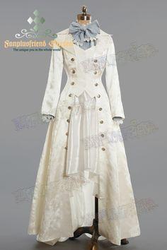 Elegant Gothic Aristocrat False 2pcs Brocade Long Coat. Lady 75 White  Brocade.  149.60 Ausgefallene 0047e430f3