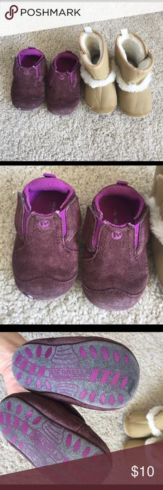Baby girl shoes bundle. Size 3 and 4 Both pre loved. Merrell purple shoes. Size 3. Machine washable. Most worn. Easy to put on and these don't fall out of baby's feet at all. 6-12m baby size. Even though they don't walk, they still need shoes when they crawl. Without shoes, their toe will be ruined :(. Old navy tan color boots. Lightly lined with soft faux fur inside. 12-18m size. 11.5 cm. No pet and smoke. No trades Merrell Shoes Sneakers
