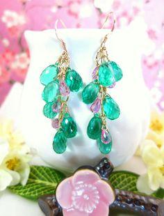 Emerald green quartz hot pink corundrum quartz gold by KBlossoms, $95.00