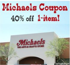 Michaels Weekly Coupon: 40% off 1 item! #michaels