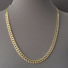 55b9ccb1b9ff Men s Necklace 14K Gold Plated 7 mm Necklace   Cuban Link Chain   Yellow  Gold