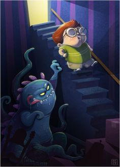 "The Monster Under the Stairs- Large 13x19"" Art Print"