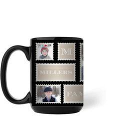 Love Family Stamps Mug, Black, 15 oz, Black