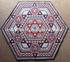 Linda White's beautiful hexagon quilt - unfinished Hexagon Quilt 15.12.2013 with name