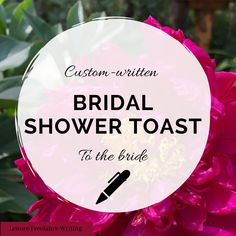 Bridal Shower Custom Toast -- Throw an amazing Bridal Shower for your best friend and give her a memorable gift by showering her with a thoughtful and meaningful toast! Written by a professional wedding speech writer and certified wedding planner, this custom toast will leave your friend feeling loved and special. Click to purchase on my Etsy shop! Matron Of Honor Speech, Funny Speeches, Best Man Speech, Bride Sister, Custom Writing, Sweet Words, Memorable Gifts, Wedding Thank You, Green Wedding