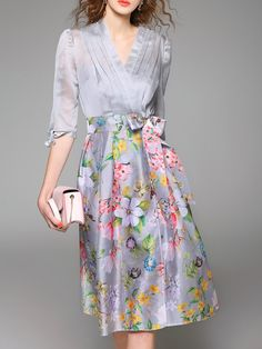 Gray A-line Half Sleeve Wrap Dress