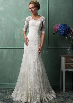 Robe de mariée de traîne mi-longue dentelle appliques col v - photo 2