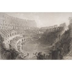 Ken Welsh / Design Pics Stretched Canvas Art - Interior Of The Colosseum Rome Italy. Engraved By E. Roberts. - Large 36 x 24 inch Wall Art Decor Size. #italianinteriordesign