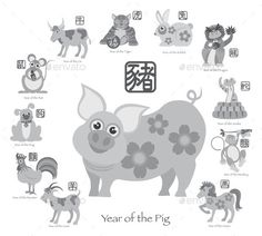 Chinese New Year Pig with Twelve Zodiacs Illustration by jpldesigns. Chinese New Year of the Pig with Twelve Zodiacs with Chinese Symbol for Rat Ox Tiger Dragon Rabbit Snake Monkey Horse...