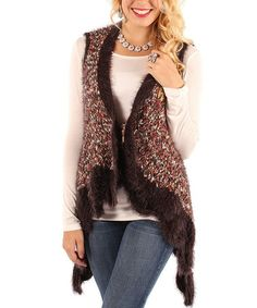 Take a look at this Chocolate Fuzzy Sidetail Vest - Women & Plus by Aster on #zulily today!