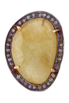 Rivka Friedman Yellow Sapphire & Champagne Diamond Organic Ring